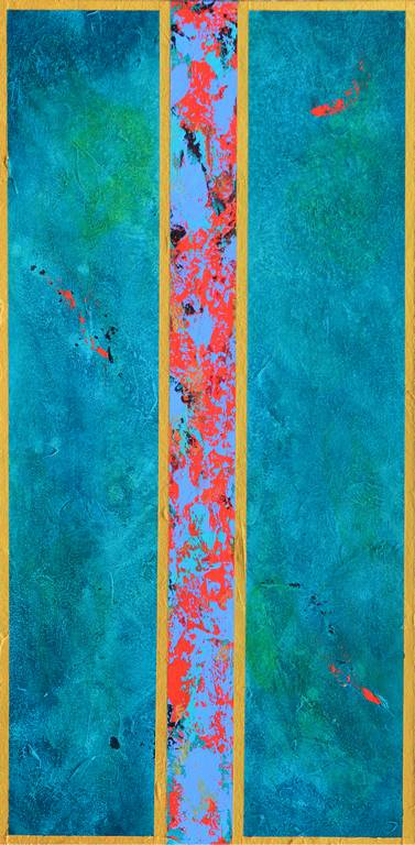 Acrylic contemporary abstract art on wood panel